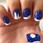 royal-blue-nails-with-white-dots-design-christmas-nail-art